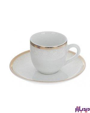 سرویس چایخوری 12 پارچه چینی زرین ایران سری ایتالیا اف مدل ریوا طلا ( Riva Tala ) درجه یک
