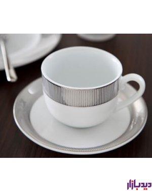 سرویس چایخوری 12 پارچه چینی زرین ایران سری ایتالیا اف مدل پالادیوم درجه عالی ( Paladiom )