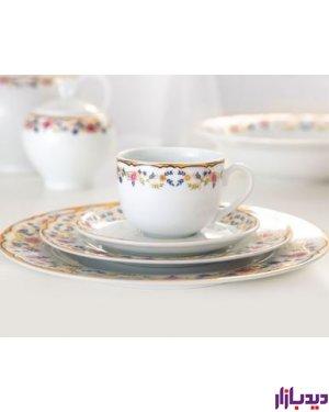 سرویس چایخوری 12 پارچه چینی زرین سری ایتالیا اف مدل گلستان Golestan