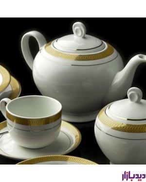 سرویس چینی 12 پارچه چای خوری چینی زرین ایران مدل ایتالیا اف ترمه درجه یک