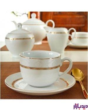 سرویس چایخوری 12 پارچه چینی زرین ایران سری ایتالیا اف مدل هدیه طلا درجه یک ( Hediye Tala )