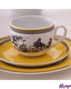 سرویس چایخوری 12 پارچه چینی زرین ایران سری ایتالیا اف مدل ویلیج ( Village ) درجه یک