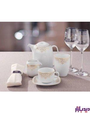 سرویس چینی 17 پارچه چای خوری چینی زرین ایران سری کواترو مدل موناکو درجه عالی