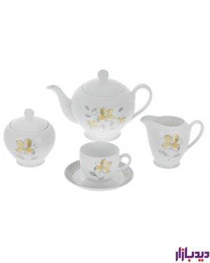 سرویس چای خوری 17 پارچه چینی زرین ایران سری ایتالیا اف مدل والنسیا درجه یک
