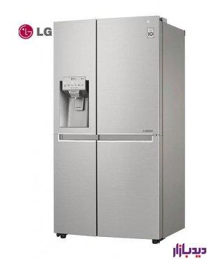 ساید بای ساید LG مدل SXS33TS,بازنگری سریع,نمایش آبریز جدید (آبریزی با طراحی خاص),پوشش متالیک (ظاهری ساده و زیبا),یخساز داخل درب,کمپرسور اینورتر خطی